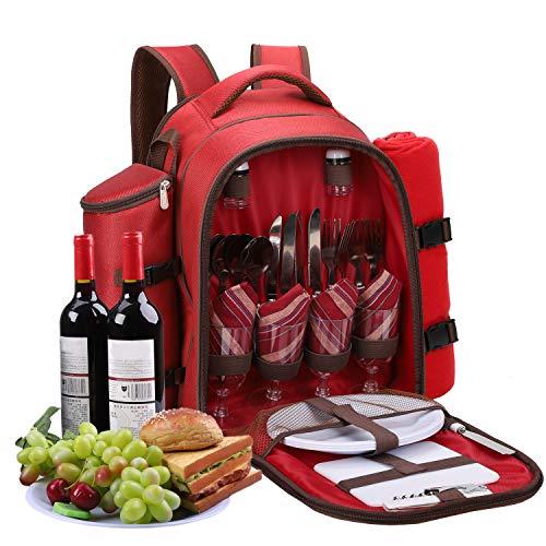 apollo walker Mochila para pícnic, bolsa isotérmica con vajilla, cubiertos y manta