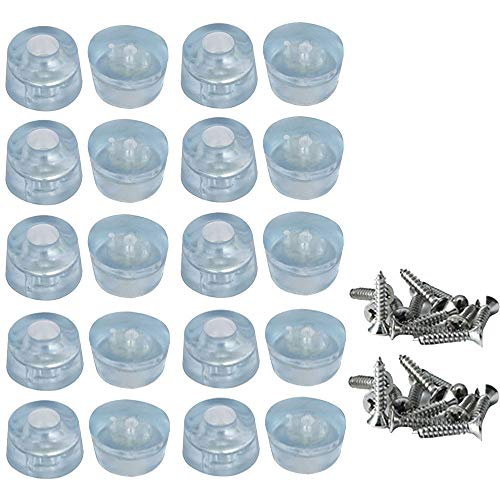 Möbelbein Fußschutz Pads, 20 Stück Gummi Anti-Rutsch Möbel Stühle Beinfuß Pads Mit Schrauben, Transparent Stoßstangen Schutz für Schreibtische, Sofas, Stühle, Maschinen (17 x 20mm)