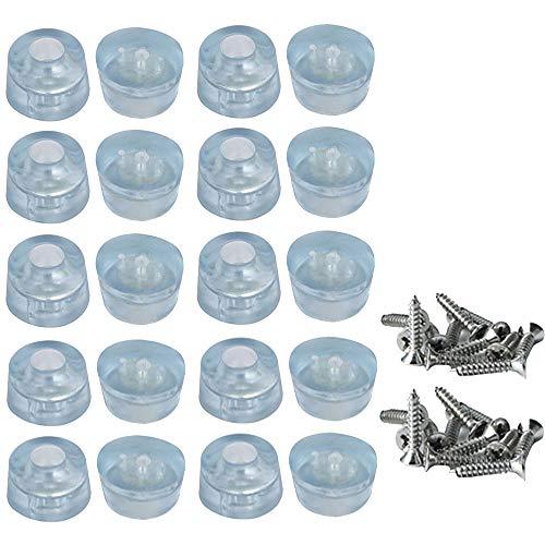 Muebles Almohadillas de Protección para Pies, 20 piezas Goma Antideslizante Fundas para Pies con Tornillos, Protección de Paragolpes Transparente para Escritorios, Sofás, Sillas (17 x 20 mm)