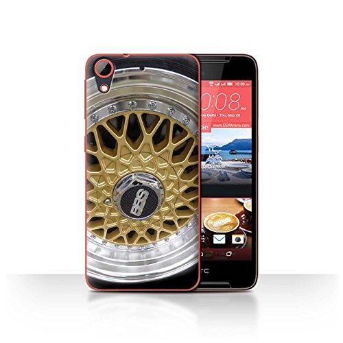 Stuff4 Hülle/Hülle für HTC Desire 628 / Gold/Chrom Muster/Leichtmetallfelgen Kollektion