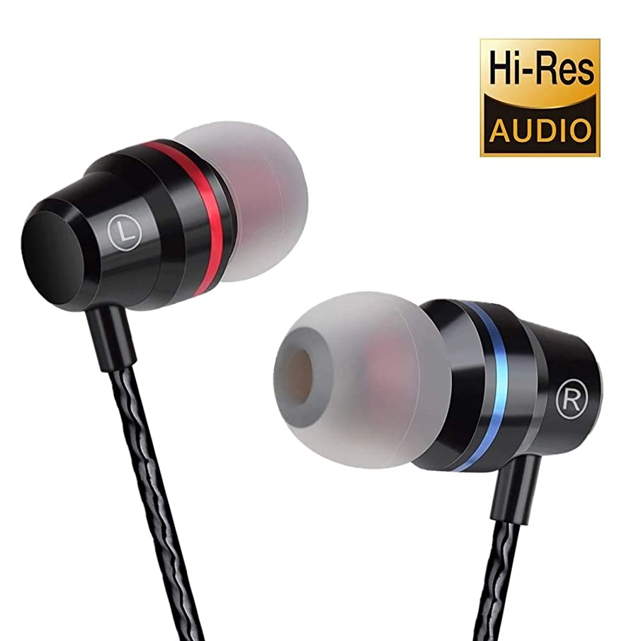 Earbuds Ear Buds in Ear Headphones Wired Earphones with Microphone Mic Stereo and Volume Control Waterproof Metal Wired Earphone for iPhone Samsung Mp3 Players Tablet Laptop 3.5mm (Black)