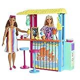 Barbie Aime les Océans coffret pour poupée Paillote de plage avec plus de 18 accessoires, fabriqué à partir de plastique recyclé, jouet pour enfant, GYG23