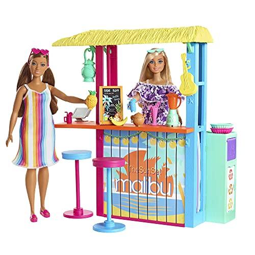 Barbie- Chiosco da Spiaggia di Malibù con 2 Sedute per Bambole e Tanti Accessori, Giocattolo per Bambini 3+Anni, GYG23