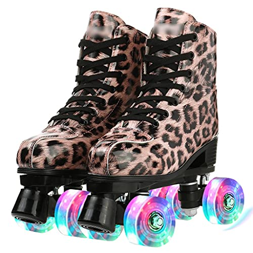 Rollschuhe Erwachsene Walzen-Skating-Schuhe Frauen doppelreizende Schlittschuhe Leopard-High-Top-Quad-Rollschuhe, perfekte Indoor-Outdoor-Rollschuhe mit Tasche (Color : C, Size : 44)