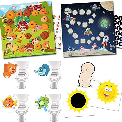 Potje training met 2 beloningssystemen boerderij + ruimte / 4 wc-stickers favoriete dieren / 2 magische stickers zon
