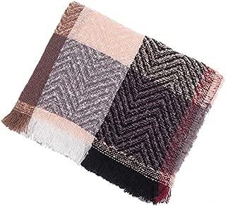 WUNONG-AU Ladies Men Lengthen Increase Fashion Keep Warm Shawl Autumn Winter Big Plaid Four-Grid Scarf (Color : Pink, Size : 175cm)
