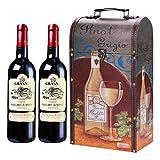 ITODA Boîte à Vin Rouge en Bois+Cuir Coffret de Vin Boîte de Rangement de Vin Portable Coffret Cadeau d'anniversaire Mariage Accessoire Vin Décoration Maison pour Un/Deux Bouteilles de Vin