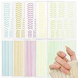 FLOFIA 10 Hojas Pegatinas Uñas Francesas Adhesivas Decorativas de línea Colores, Nail Striping Tape, Nail Stickers Stripe Line Curva 10 Estilos, para Decoración Uñas Accesorios DIY Diseño Arte de Uñas