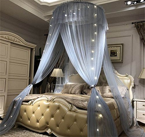 Lotus Karen Bed Canopy - Elegant Lace Round Hoop Polyester Sheer Mesh Bed Curtains - Princess Dome Bedding Net for Twin Full Queen King Size Bed