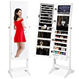 Best Choice Products 6-Tier Full Length Standing Mirrored Lockable Jewelry Storage Organizer Cabinet Armoire w/ 6 LED Interior Lights, 3 Angle Adjustments, Velvet Lining, White