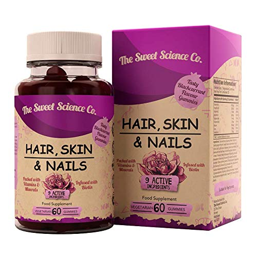 TSCC Hair Skin Nails Vitamins & Minerals - 60 Vegetarian Gummies - Infused with Biotin, Vitamin D3 & B12 - for Hairs Regrowth & Healthy Skin & Nails - Non- GMO - Gluten, Dairy & Allergen Free