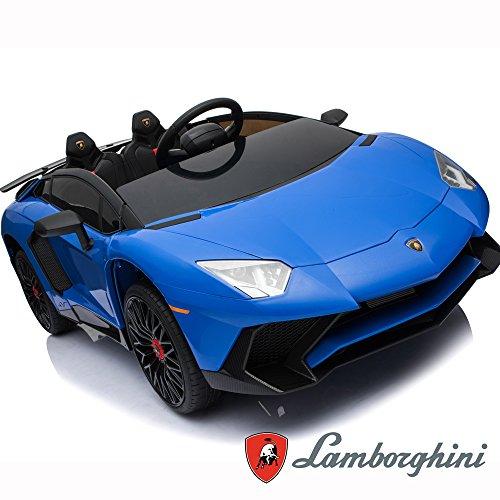 BC Babycoches-Coche electrico 12 V para niños Lamborghini AVENTATOR, monoplaza, Mando Parental, Puertas Verticales, Asiento Polipiel, Ruedas EVA. Color Azul