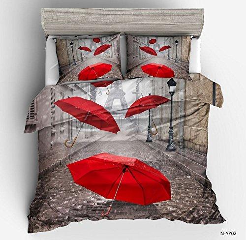 Fansu 3D Bettwäsche, Bedding Bedrucktes Bettbezug-Set 3 Teilig Hohe Qualität Microfaser Bequem Weich und Haltbar Atmungsaktive Hypoallergen Bettwäsche Garnitur (135x200cm,Regenschirm)