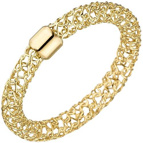 Ring Damenring 3,2x3mm aus 750 Gold Gelbgold Goldring mit Muster geflochten, Ringgröße:Innenumfang 60mm ~ Ø19.1mm