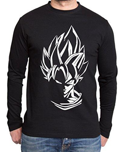 Super Son Goku Dragon Master Son Ball Vegeta Turtle Roshi Db T-shirt à manches longues pour homme - Noir - Small