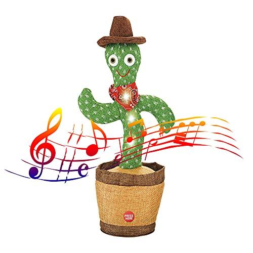 JISON21 Cactus bailando de peluche cactus, juguete electrónico, accesorio para el hogar, regalo para niños (cantando 8+ bailando + grabación + iluminación)