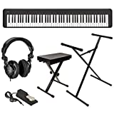 Casio CDP-S150 88-Key Compact Digital Piano (Black), Bundle with Bench, Stand, Sustain Pedal and H&A Studio Headphones