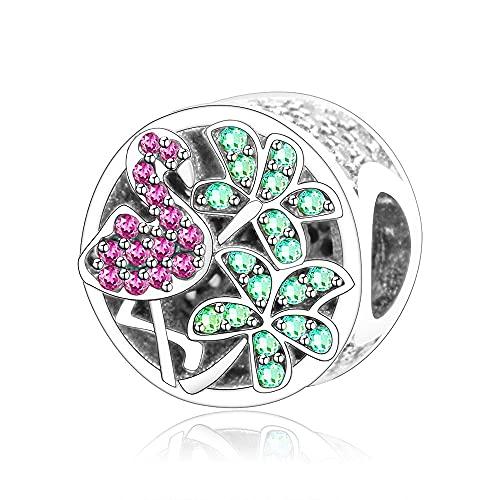 LIIHVYI Pandora Charms para Mujeres Cuentas Plata De Ley 925 Primavera Tropical Ave Cristal Multicolor Compatible con Pulseras Europeos Collars