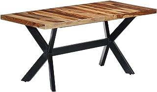 vidaXL Table de Salle à Manger en Bois de sheesham Massif avec Pieds en Acier 160 x 80 x 75 cm