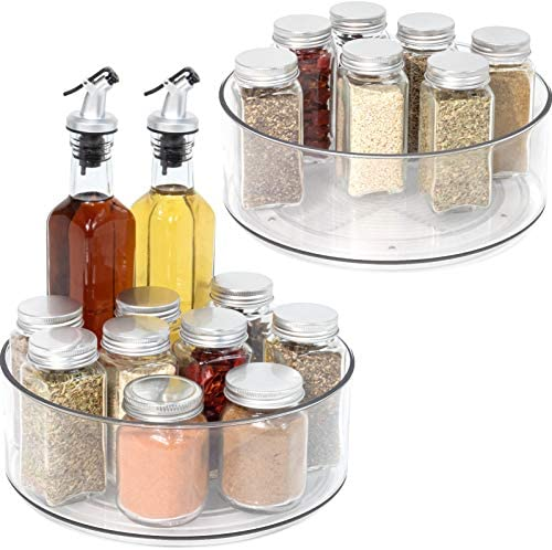 Lazy Susan 2 Pack Round Plastic Clear Rotating Turntable Organization Storage Container Bins product image