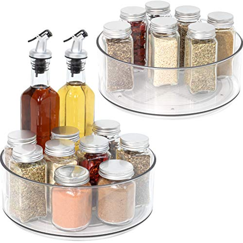 Lazy Susan - 2 Pack Round Plastic Clear Rotating Turntable Organization Storage Container Bins for Cabinet Pantry Fridge Countertop Kitchen Vanity - Spinning Organizer for Spices Condiments