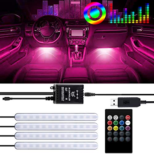 BRTLX LED Car Interior Lighting Atm/ósfera Kit de luz decorativa RGB Strip 12V 4 x 15 LEDs con sonido Active Function Universal Fitment