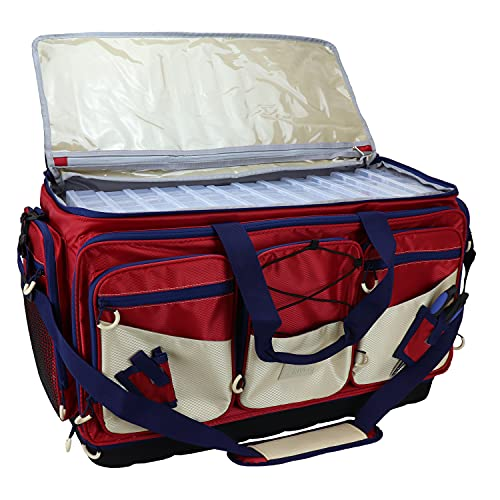 OSAGE RIVER X-Large Saltwater Resistant Fishing Tackle Bag, Heavy-Duty Organizer, Waterproof Bottom, Tackle Boxes Included, Red