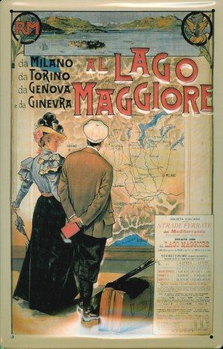 Buddel-Bini Versand Blechschild Nostalgieschild Lago Maggiore Italien Retro Schild Werbeschild