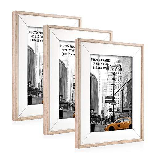 Metrekey 3er Set Bilderrahmen 13x18 cm Natur Holzmaserung aus MDF mit Echtglas Deko Fotorahmen für Foto Urkunden wandhängend oder freistehen
