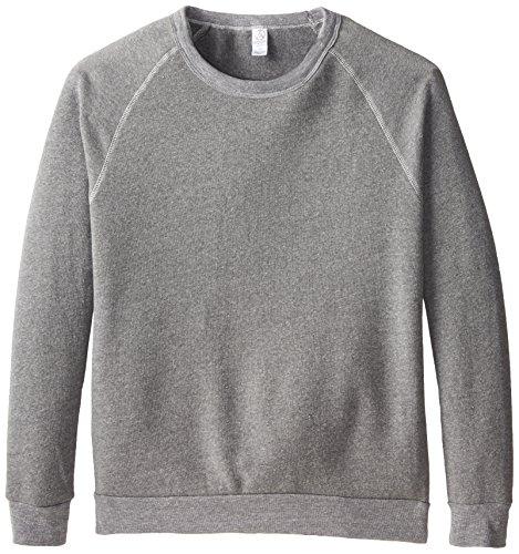 Alternative Unisex Long Sleeve Basic Crew Fleece, Eco Grey Heather, Medium