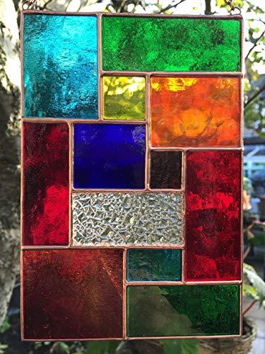 Handgemachte BuntGlas Sonnenfänger, Buntglas Panel, Multicolor Kupfer Zusammenfassung Glasmalerei Sonnenfänger, Kunst Panel Suncatcher Handmade - Colin Rhodes
