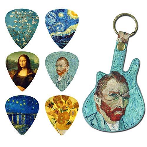 Guitar Picks - LIZIMANDU 12 Medium Gauge Celluloid Guitar Picks In Guitar Shaped Picks Holder. Unique Guitar Gift For Bass, Electric & Acoustic Guitars(Van Gogh)
