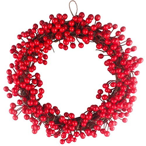 WXQIANG Jungle Party Berry Dekoration Kranz Rot Obst Garland Wand-Tür-Anhänger Ornament Hochzeit Dekorationen (Size : 12INCH)