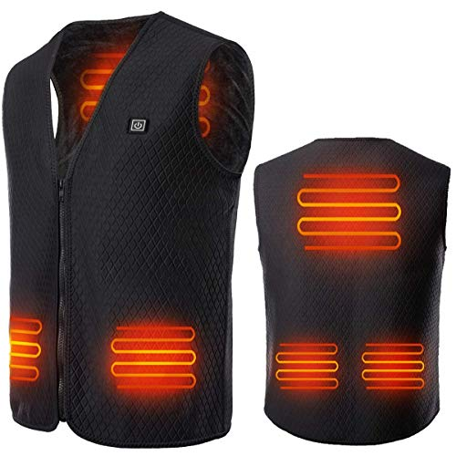 Yevohadt USB Electric Heated Vest, 5V Rechargable Washable Heating Jacket for Men Women, Lightweight Body Warmer Gilet for Outdoor Motorcycle, Golf & Hunting(X-Large)