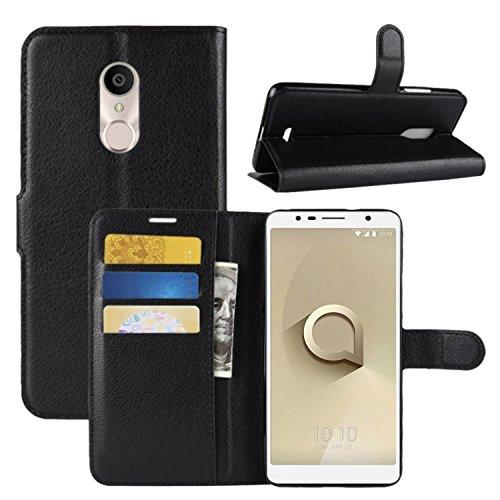 HualuBro Alcatel 3C Hülle, Premium PU Leder Leather Wallet HandyHülle Tasche Schutzhülle Flip Hülle Cover mit Karten Slot für Alcatel 3C Smartphone (Schwarz)