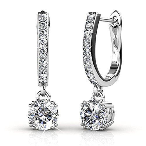 BELLE & LILY Hoop Loop Earrings 18K White Gold with Swarovski Element Crystal Sparking Jewellery Box Gift for Women Girl Mother's Day Wife (E-DangleB)