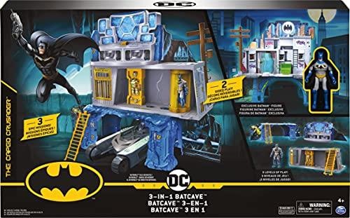 Batman 3-in-1-Batcave - Zweiseitiges Spielset mit 10cm großer Batman-Actionfigur und umfangreichem Spielmaterial