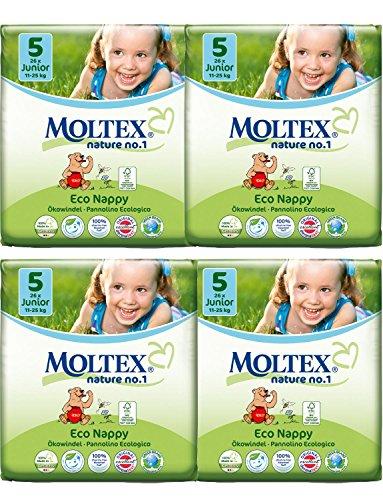 Packung mit 4 Moltex Junior Windeln Größe 5 (104 Windeln)
