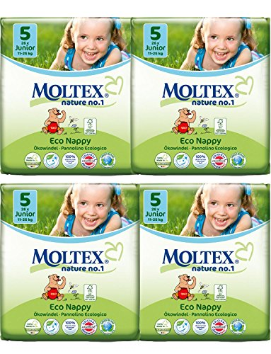 Lot de 4 couches Moltex Junior Taille 5 (104 couches)
