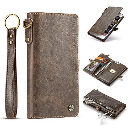 Shazikaihui iPhone 6s Plus hülle Leder Schutzhülle Geldbörse Standfunktion, Abnehmbare Magnetverschluss Handyhülle, 8 Kartenfächer, mit Trageband, iPhone 6s Plus/6 Plus hülle Geldbeutel (braun)
