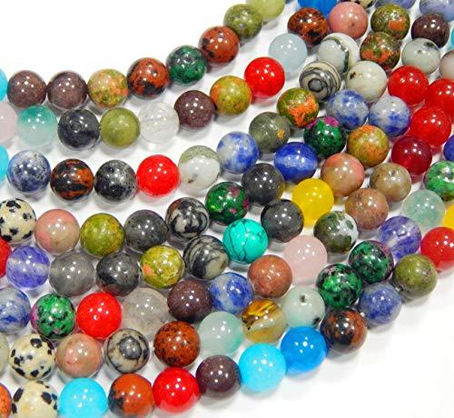 Perlin – Gemme Mix di perline da 4 mm, set da 95 pezzi, quarzo rotondo, avventurina, bronzite, ametista, giada, diaspro, sodalite, unakite, turchese, rubino in zoisite, ossidiana, agata G692