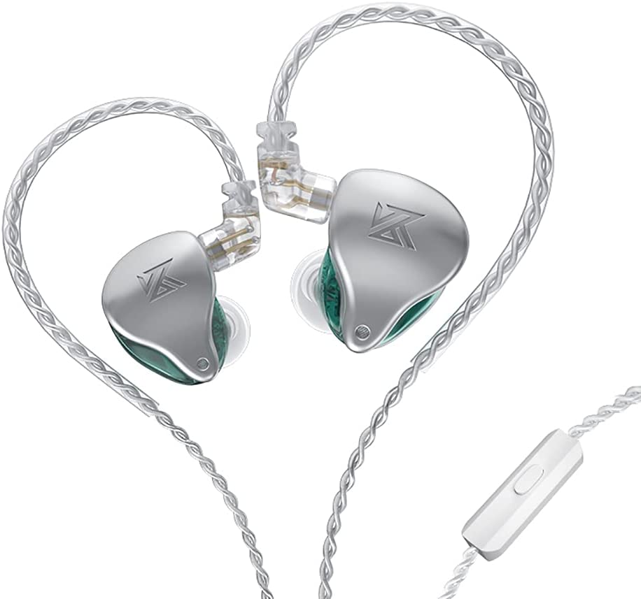 KZ-AST in-Ear Monitors, 24BA Top-Level Configuration HiFi Stereo Earphones, Lightweight Noise Isolating Stage IEM Wired Earbuds/Headphones for Musician Audiophile (with Mic, Green)