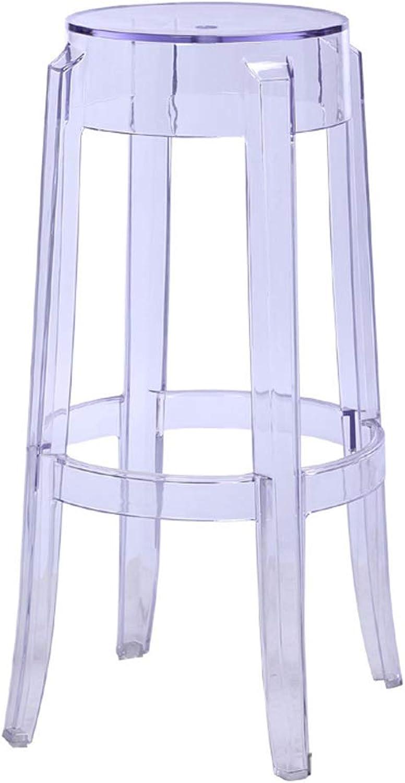 Fashion Plastic Stool Transparent Acrylic Dining Chair Crystal Stool Bar Stool Home Chair Creative 75cm High Stool