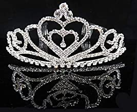 SOHAPY Crystal Tiara Crown Headband Headpiece for Flower Girl gifts Wedding Coronal Prom Bridal Queen Birthday photo Rhinestone Pageant Princess Crown with Comb for Costume Accessories (1 Crown)