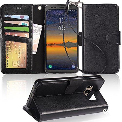 Galaxy S8Active Schutzhülle, arae [Handschlaufe] Flip Folio [Standfuß Funktion] PU Leder Wallet Schutzhülle mit ID und Credit Karten Taschen für Samsung Galaxy S8Active (Nicht für S8), Schwarz