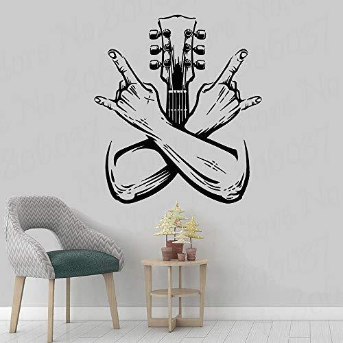 yaofale Gitarrist Wandtattoo Band Rockmusik Gitarre Instrument Tür und Fenster Vinyl Aufkleber Schlafzimmer Musikstudio Home Dekoration