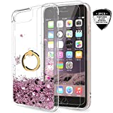 iPhone 6s/6 Case, iPhone 7/8 Case with Tempered Glass Screen Protector for Girls Women, LeYi Cute Glitter Shiny Quicksand Clear Phone Case with Car Holder Kickstand for iPhone 6/ 6s/ 7/8 ZX Rose Gold