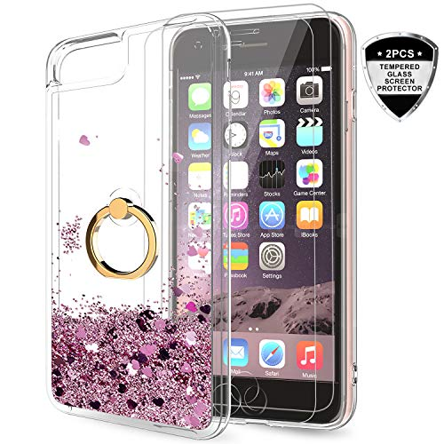 LeYi iPhone SE Case (2020), iPhone 6s/ 6/7/ 8 Case with Tempered Glass Screen Protector for Girls Women, Glitter Quicksand Clear Phone Case with Car Holder Kickstand for iPhone 6/ 6s/ 7/8 Rose Gold