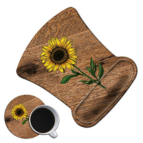 Dikoer Ergonomic Mouse Pad with Gel Wrist Support Cute Wood Grain Sunflower Mousepad with Coasters Non-Slip Pain Relief Comfort Wrist Rest Mat for Laptop Gaming Internet Cafe Home Office