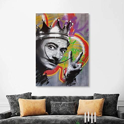 GUDOJK Impresión de Lienzo Decorativo Graffiti Pared Arte Figura Abstracta Pintura Pop Carteles e Impresiones Pared Arte Imagen para Sala de Estar decoración del hogar-60x80cm